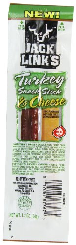 Jack Link's Turkey and Cheese Snack Sticks Combo Pack, 1.2-Ounce (Pack of 16)