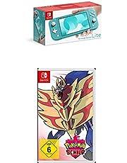 Nintendo Switch Lite, Standard, türkis-blau + Pokémon Schild - [Nintendo Switch]