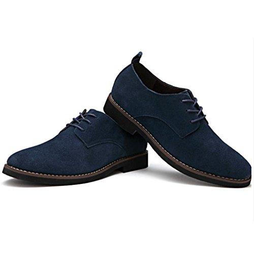 Heart&M zapatos de cuero de gamuza helado de corte bajo de los hombres casual de gran tamaño navy blue