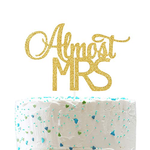 Almost Mrs Cake Topper, Bridal Shower Bachelorette Party Decorations (Double Sided Gold -