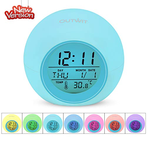 OUTWIT Kids Alarm Clock【2020 Version】, Student Digital Clock for Boys Girls, 7 Colors Changing Light Bedside Clock for Children