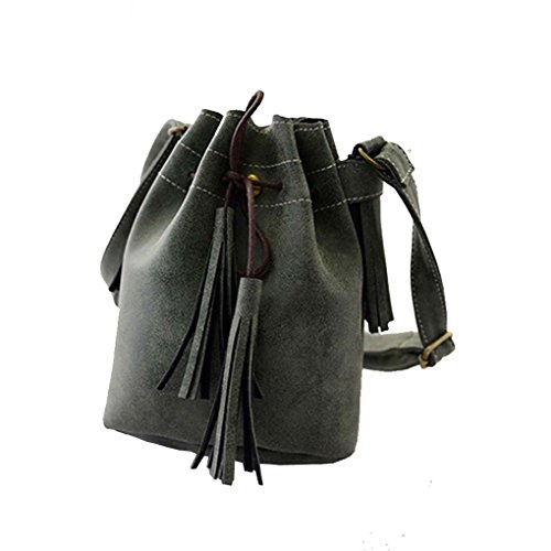 Caszel Womens Hippie Suede Retro Vintage Simplicity Fringe Tassel PU Leather Mini Shoulder Bag Messenger Crossbody Handbag Hippie Suede Shoulder Bag