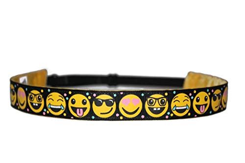 BEACHGIRL Bands Headband Non-Slip Adjustable Sports Hair-Band For Women & Girls Black Emoji]()