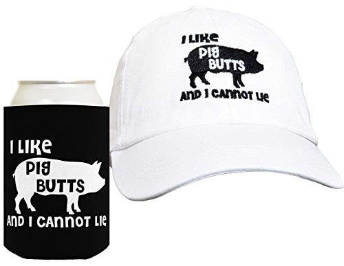 i-like-pig-butts-2-piece-hat-cap-and-coolie-gift-set-bundle-white