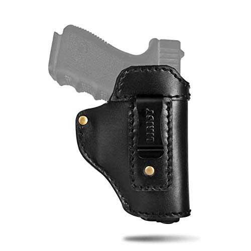 LIRISY Leather IWB Holster | Inside The Waistband Concealed Carry Gun Holster for S&W M&P Shield - Glock 17 19 22 23 26 32 33 43/ Springfield XD XDS/All Similar Handguns