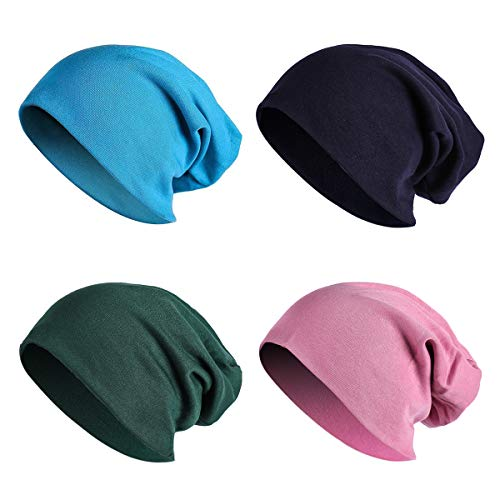 JOYEBUY 4 Pack Women Men Stylish Cotton Beanie Cap Slouchy Beanies Hats Soft Sleep Cap (Style B)
