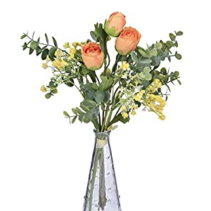 Anna Homey Decor Pack of 1 Fake Gypsophila Bouquets Flannel Rose Flower Fake Blossom with Silver Dollar Eucalyptus Leaves Fake Flowers for Decoration in Vase Farmhouse Decor for The Home 75