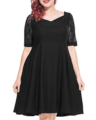 Pinup Fashion Women's Vintage Formal V-Neck Floral Lace Sleeve Plus Size Swing Cocktail Dress Black 18W