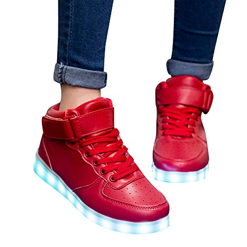 Amazon.com: Geetobby New Women High-cut Shoes PU Fashion Lights Shoes Casual Shoes Sneakers: Clothing