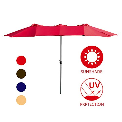 LOKATSE HOME Double-Sided Market Patio Outdoor Umbrella 15 Feet Garden Aluminum Twin Sun Canopy with Crank, 2 Middle Red