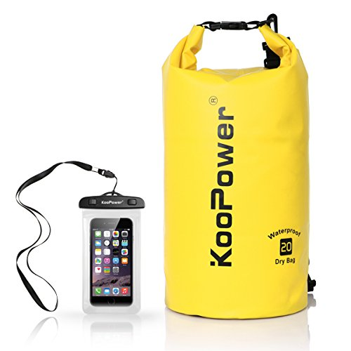 Waterproof Bag Drybag 20L Dry Gear Backpack with Universal Waterproof Phone Case for Boating, Kayaking, Rafting, Fishing, Camping, Canoeing, Swimming, Snowboarding, Driving (Yellow)