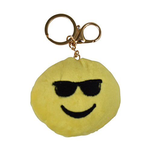 Emoji Plush Backpack Charm Keychain - - Keychain Sunglasses