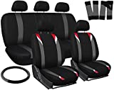 OxGord 17pc Set Flat Cloth Mesh/Red, Gray & Black Auto Seat Covers Set - Airbag Compatible - Front Low Back Bucket Seats - Universal Fit for Car, Truck, SUV, Van - with Steering Wheel Cover
