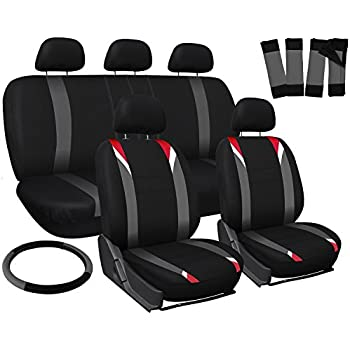 Oxgord 17pc Set Flat Cloth Mesh / Red, Gray & Black Auto Seat Covers Set - Airbag Compatible - Front Low Back Buckets - 50/50 or 60/40 Rear Split Bench - 5 Head Rests - Universal Fit for Car, Truck, Suv, or Van - FREE Steering Wheel Cover