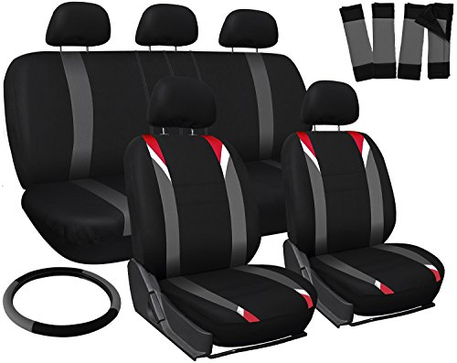Oxgord 17pc Set Flat Cloth Mesh / Red, Gray & Black Auto Seat Covers Set - Airbag Compatible - Front Low Back Bucket Seats - Universal Fit for Car, Truck, SUV, Van - FREE Steering Wheel Cover