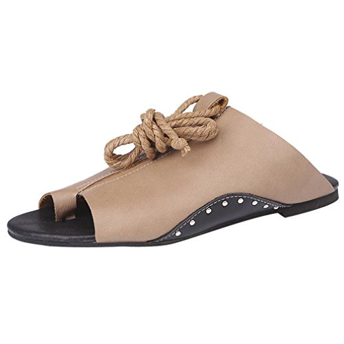 HLHN Woman Sandals,Rome Ankle Flat Open-Toe Low Heel Leisure Shoes Tie Up Beach Casual Vintage Summer Lady Khaki