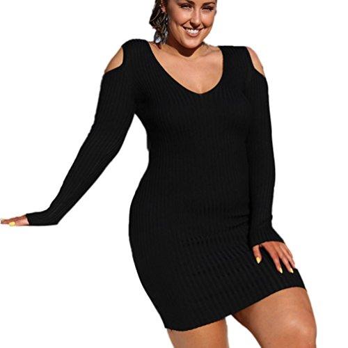 Price comparison product image Han Shi Mini Dress,  Women Cold Shoulder V Neck Knee Length Long Sleeve Party Skirts (M=(US S),  Black)