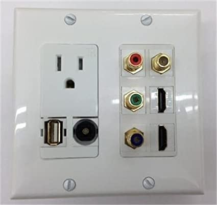 CERTICABLE CUSTOM MADE DOUBLE GANG WALL PLATE IN WHITE - 110V POWER + 1 USB +