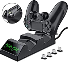 PS4 Controller Ladestation, BEBONCOOL PS4 Ladestation Controller Ladegerät mit 4 Micro USB Lade Dongles LED-Anzeige PS4...