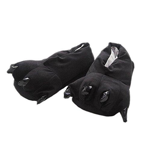 DELEY Unisex Cosplay Tier Kostüm Plüsch Home Hausschuhe Schlafanzug Schuhe Schwarz