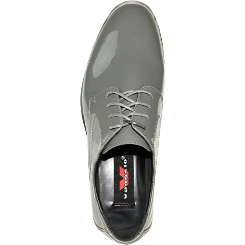 Vangelo Hommes Tuxedo Chaussures Tab Chaussures Habillées Oxford Wrinke Gratuit Gris Brevet 11w