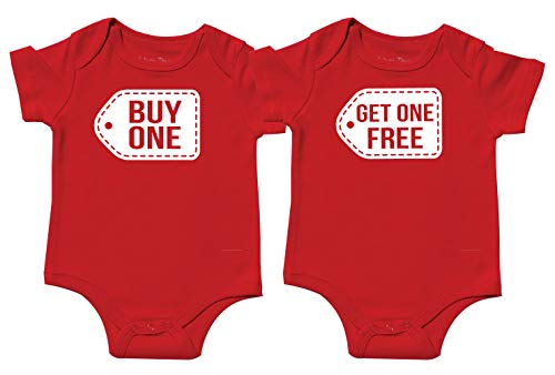 Twin Boy and Girl Bodysuits, Includes 2 Bodysuits, 0-3 Month Buy One Get One -
