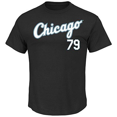 VF LSG MLB Chicago White Sox Men's J Abreu 79 Road Name Number Tee, Large, Black