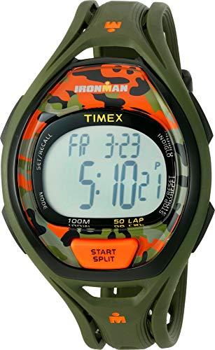 (Timex Unisex TW5M01200 Ironman Sleek 50 Green/Orange Camo Resin Strap Watch)