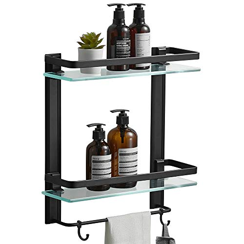 BESy Heavy Duty Lavatory Glass Bathroom Shelf, 2 Tier Tempered Glass Shower Shelves with Towel Bar Wall Mounted, Shower…