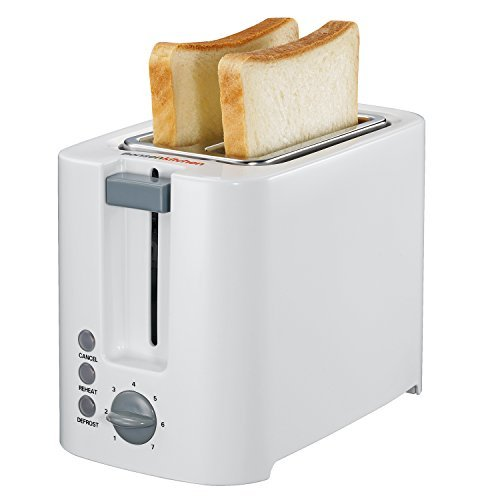 Bonsenkitchen 2-Slice Toaster with Defrost, Reheat and Cancel Function, 7 Adjustable Browning Settings, White (TR8701)