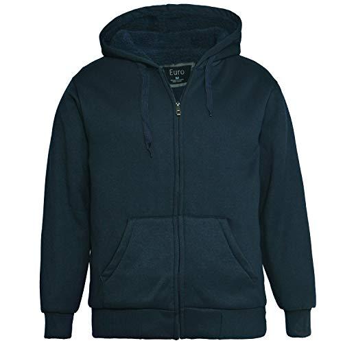 Erin Garments Mens Zip Front Hoodie Oversized Heavyheight Sherpa Lined Sweatshirt Black Grey Long Sleeve Jacket (3X-Large, Navy)