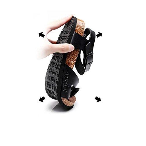 verano Mujer cómodo de sandalias arrastre de Negro sandalias Chanclas sandalias blanco playa MEIDUO cómodo sandalias Correa Casual negro 407Y8q
