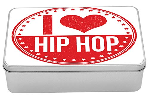 Ambesonne Hip Hop Tin Box, I Love Hip Hop Phrase on a Circular Grungy Background with Star Shapes, Portable Rectangle Metal Organizer Storage Box with Lid, 7.2