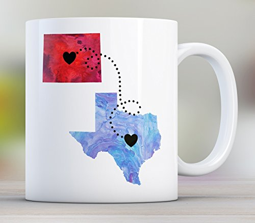 Together Long Distance State Mug with Quote, Personalized, All States Available, Countries and Provinces too, 11oz or 15oz