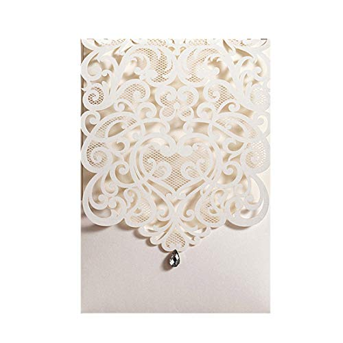 Wishmade 50pcs Vertical Ivory Laser Cut Wedding Invitations Cards with Rhinestone Hollow Flora Cardstock for Engagement Birthday Baby Shower Bridal Shower Anniversary Party Supplies (set of 50pcs) ()