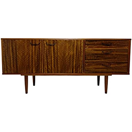 Mid Century Modern Credenza Or Media Console With Tiger Stripe Wood Grain
