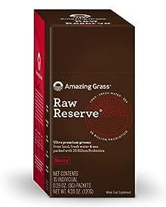 Amazing Grass Raw Reserve Premium Greens, Berry, Individual servings, 15 count, Probiotics, Organic, Spirulina, Chlorella, detox, digestive enzyme, maca, kelp, E3 Live, Vitamin K, Vegan, Chia Seed