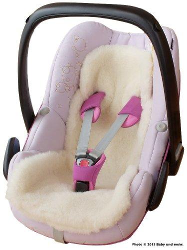 ByBUM - Baby Lammfellauflage, Universal für Babyschale, Autokindersitz, z.B. für Maxi-Cosi, Römer, für Babybett, Kinderwagen o. Buggy; 100% MERINOWOLLE