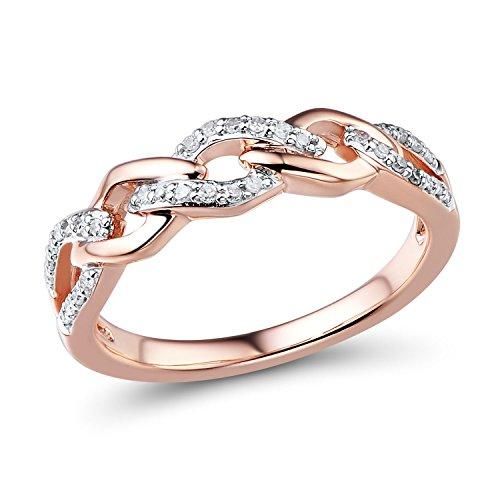 - Diamond Wedding Anniversary Ring Band in 10k Rose Gold with White Rhodium Plated Accents (1/10 cttw)