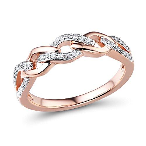 Diamond Wedding Anniversary Ring Band in 10k Rose Gold (1/10 cttw)