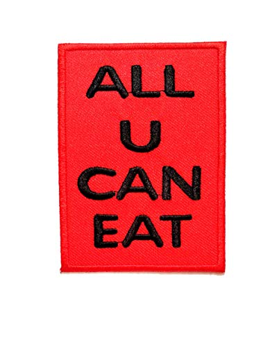 Nipitshop Patches Black Letter in Red Patch All u can eat Funny Words Patch Funny Joyful Words Embroidered Iron On Patch for Clothes Backpacks T-Shirt Jeans Skirt Vests Scarf Hat Bag