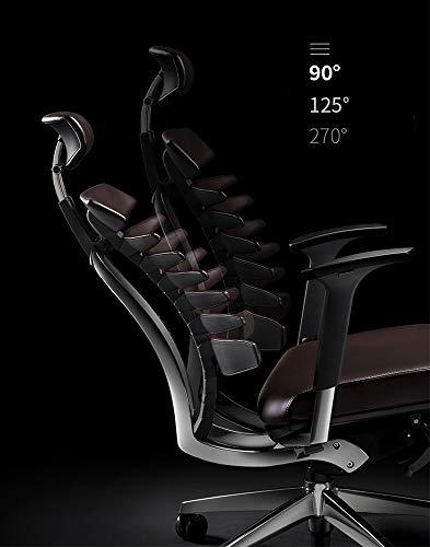 LiZP kontorsstol avancerad verkställande kontorskampanj äkta läder glansig metall höjd justerbar roterbar hem kontor ergonomi spel andas för inlärning, brun