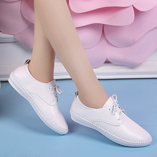 White Shoes Casual Women Women Flat Leather Shoes Student Strap And Versatile People Lazy White KPHY tqxwEaP