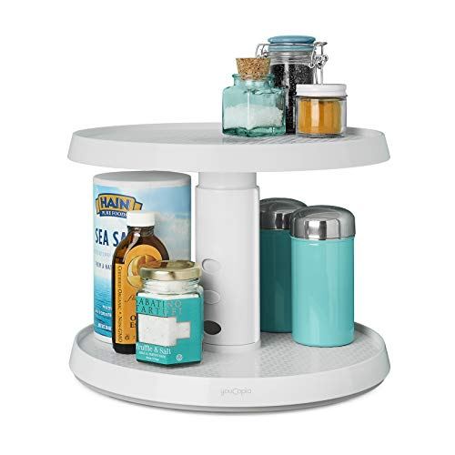 YouCopia 2-Tier Height Adjustable Crazy Susan Kitchen Cabinet Turntable and Spice Organizer