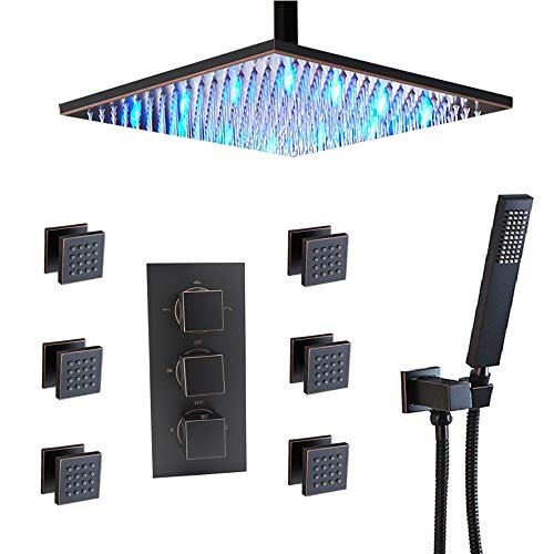 HOMEDEC Thermostatic Rain Mixer Shower Combo Set Ceiling Mounted LED 16 inch shower Head with 6 Body Sprays And Brass Handshower,Oil Rubbed Bronze (Rain Jet)