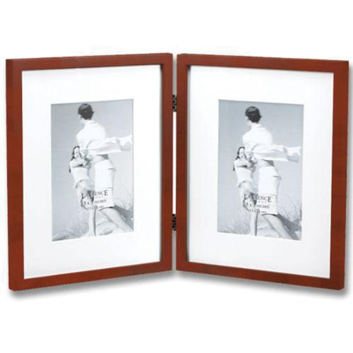 Lawrence Hinged Double Picture Frame in Walnut Brown Matted