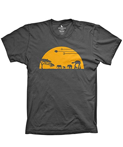 Guerrilla Tees at-at Movie Shirts Funny Tshirts Graphic Space tee, Charcoal, Large