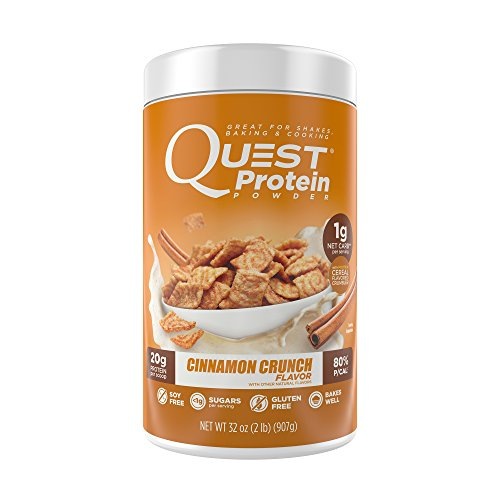 Quest Nutrition Protein Powder, Cinnamon Crunch, 20g Protein, 1g Net Carbs, 80% P/Cals, 2lb Tub, High Protein, Low Carb, Gluten Free, Soy Free