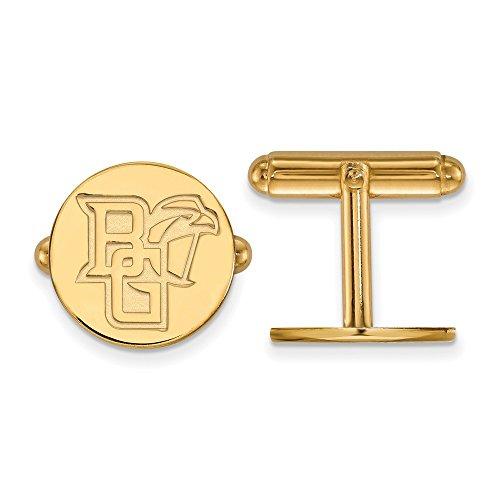 Roy Rose Jewelry 14K Yellow Gold LogoArt Bowling Green State University Cuff Links 14k Green Cufflinks