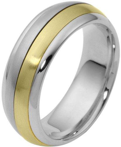 (7mm 14 Karat Two-Tone Gold Designer SPINNING Wedding Band Ring - 575)
